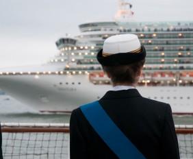 HRH The Princess Royal reviews the fleet at P&Os 175th celebrations.
