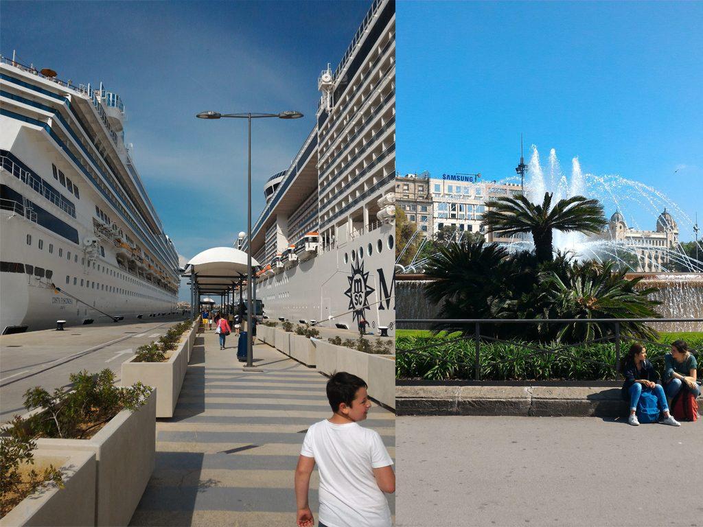 Costa Fascinosa e MSC Fantasia a Palma (sinistra) - Plaça de Catalunya a Barcellona (destra)